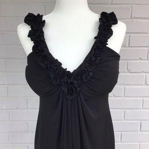Fitted black ruffle dress